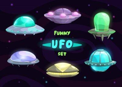 Плакат Cartoon fantastic ufo set