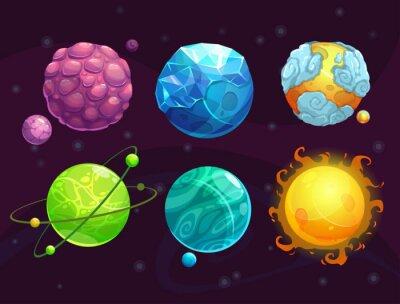 Плакат Мультфильм фантазии чужие планеты установить
