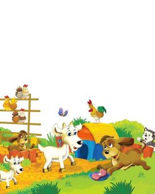 Плакат Cartoon farm scene with animal goat having fun on white background - illustration for children