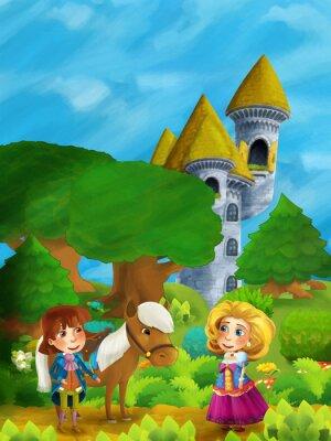 Плакат Мультяшная лесная сцена с принцем с лошадью и принцессой, стоящая и разговаривающая по пути возле башни замка