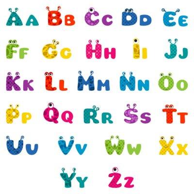 Плакат cartoon monster alphabet
