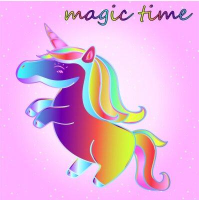 Плакат мультфильм неоновый единорог со звездами на фоне розового градиента - время приключений и время магии