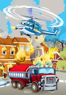 Плакат cartoon scene with fireman car vehicle near burning building - illustration for children