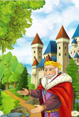 Плакат Мультфильм сцена с счастливым королем приветствуя кого-то - красивый манга человек - иллюстрация для детей