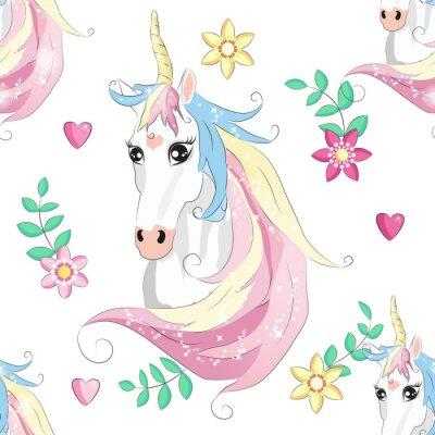 Плакат Cartoon seamless pattern. Unicorn with rainbow and clouds. For designed print.