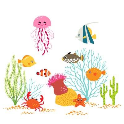 Плакат Мультфильм подводный дизайн на белом фоне