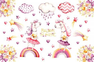 Плакат Cartoon unicorn set. watercolor for decoration design. Funny pink animal princess collection. Princess rainbow poster. Nursery cute print. Decoration element. Magic fantasy design.