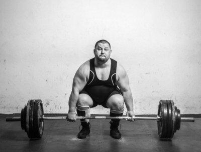 Плакат Чемпион пауэрлифтером с гиревого сильными руками