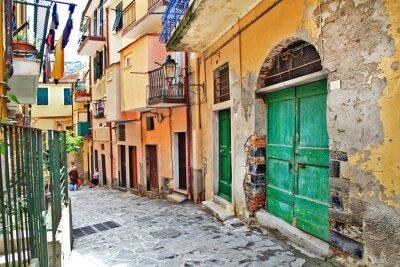 Плакат очаровательные средиземноморские улочки, Cinque Terre, Италия