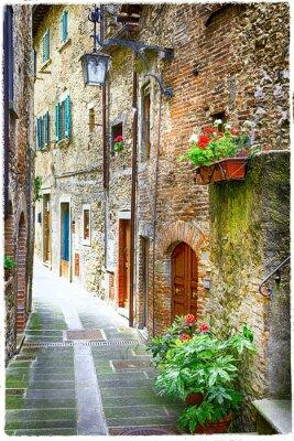 Плакат очаровательные старые улицы средневековых городов Италии