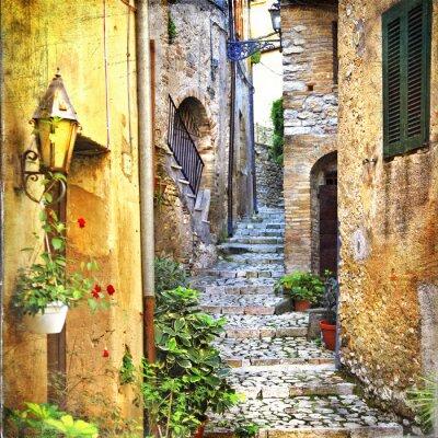 Плакат очаровательные старые улицы средиземноморский