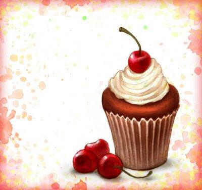 Плакат Вишневый шоколадный кекс на фоне акварель