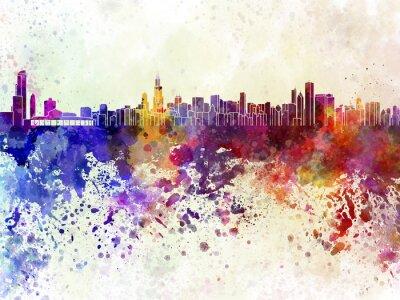 Плакат Чикаго горизонты в фоне акварель