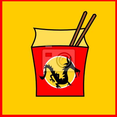 Плакат Китайский фастфуд ресторан логотип