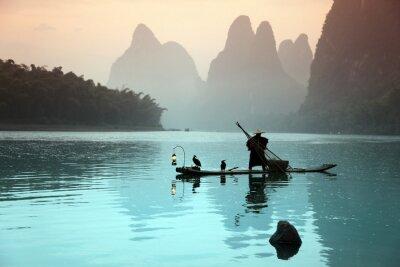 Плакат Китаец рыбалку с бакланы птиц