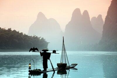 Плакат Китаец рыбалка с бакланов птиц