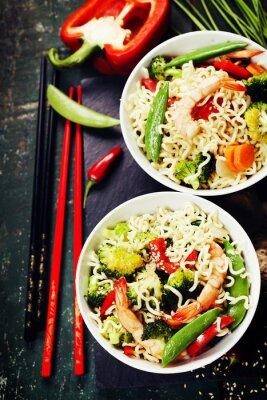 Плакат Китайская лапша с овощами и креветками