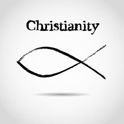 Плакат христианский символ рыбы. логотип