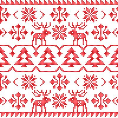 Плакат Рождество и зима трикотажные бесшовные модели