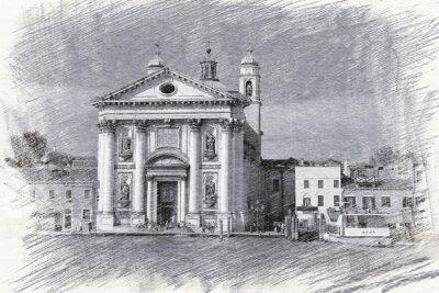 Плакат Церковь Санта-Мария-дель-Росарио в Италии, Венеции. эскиз