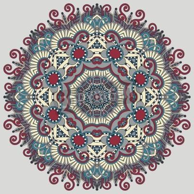 Плакат Круг кружева орнамент, круглые декоративные геометрический рисунок салфетка