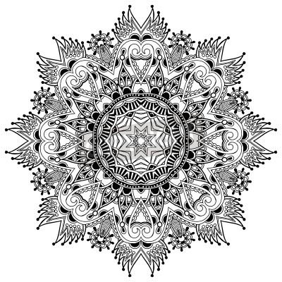 Плакат Круг кружева орнамент, декоративные круглый салфетка геометрический узор, черный и белый Коллекция