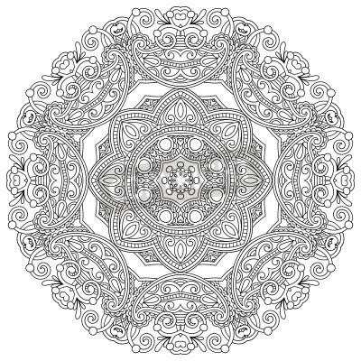 Плакат Круг орнамент, черный и белый орнамент вокруг кружева