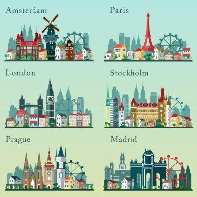 Плакат Города горизонты установить. Вектор плоские пейзажи. Европейские города городские