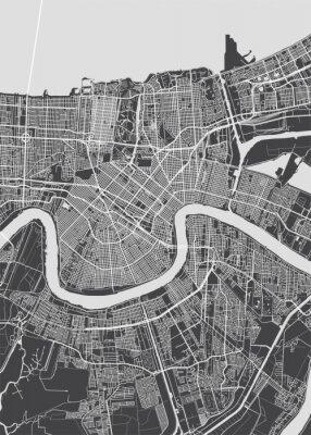 Плакат City map New Orleans, monochrome detailed plan, vector illustration
