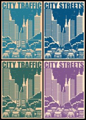 Плакат городских улиц ретро плакаты