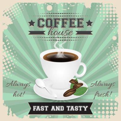 Плакат Кофейня гранж дизайн плаката с полутоновых эффект. Кофейная чашка, ложка, кофе в зернах, пластины, листья и пара.