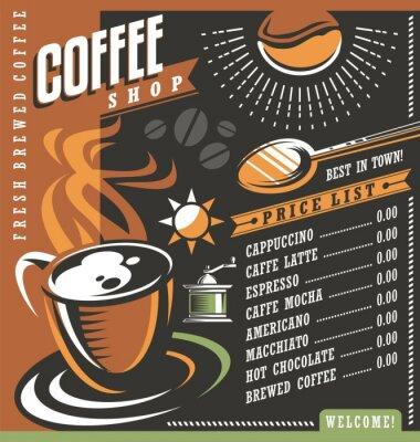Плакат Кофе меню дом шаблон объявления