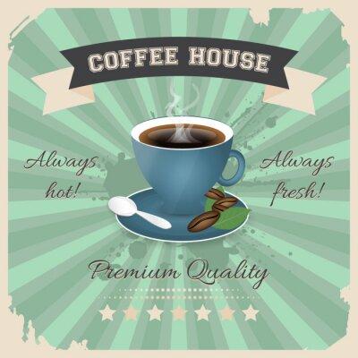 Плакат Кофейня дизайн плаката с чашкой кофе в ретро-стиле.