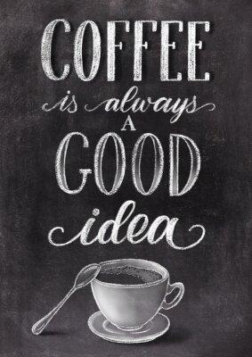 Плакат Кофе всегда хорошая идея надписи на фоне черной доске с чашкой. Хан нарисованные мелом старинные иллюстрации.