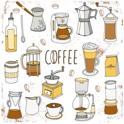 Плакат Кофейный набор. Ручной обращается коллекция