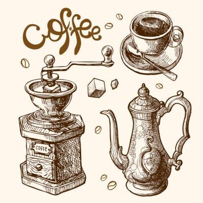 Плакат кофе эскиз иллюстрации