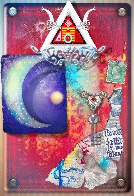 Плакат Коллаж фон с цветными, алхимических обрезков, звездное луна и