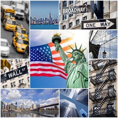 Плакат Коллаж carré Нью-Йорк - США