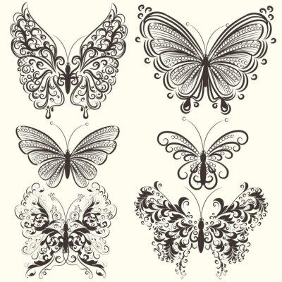 Плакат Коллекция абстрактных вектор вихревых бабочки для проектирования