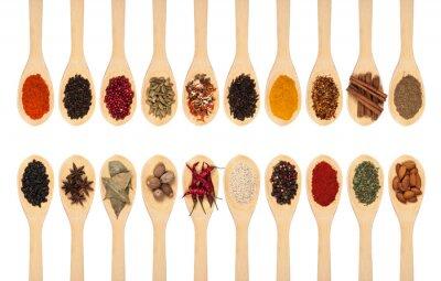 Плакат коллекция специй на ложках