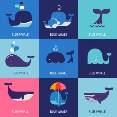 Плакат Коллекция векторных иконок китов