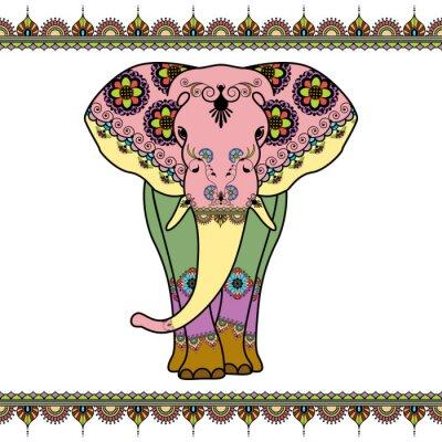Плакат Цвет слон с пограничными элементами в этническом стиле Менди. Вектор черно-белые иллюстрации на белом фоне