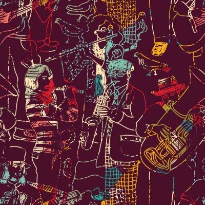 Плакат Цвет музыки джаз бесшовные модели.