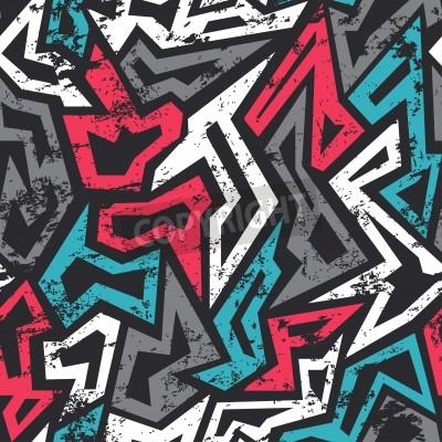 Плакат цветные граффити бесшовные модели с гранж эффект