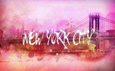 Плакат Красочный художественный розовый панорама Нью-Йорк