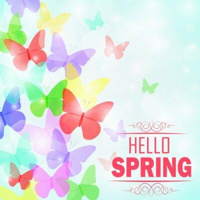 Плакат Красочные бабочки фона с текстом Hello Spring