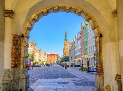 Плакат Красочные готические фасады Int старый город Гданьск, Польша