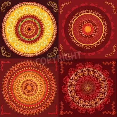 Плакат Красочный дизайн хной мандалы, очень сложные и легко редактируемый