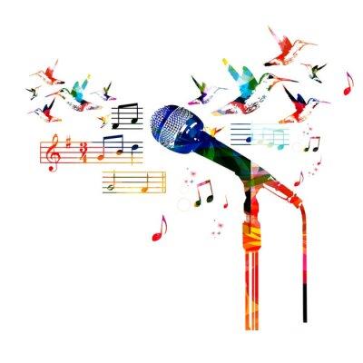 Плакат Красочный дизайн микрофона