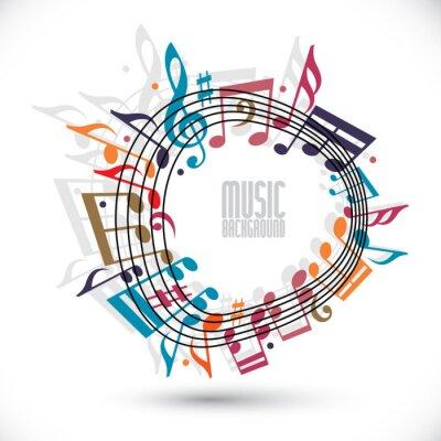 Плакат Красочный музыкальный фон с ключом и нотами, музыка лист в ро